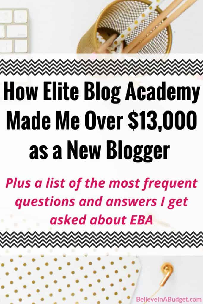 Elite Blog Academy changed my blog for the better! It was the only class I took as a new blogger and it was worth every penny! In 6 months, my blog made over $13,000 from the tips I learned from EBA. If you are debating whether you want to take this course, I'm answering a bunch of questions many people have, as well as the pros and cons of the course, and what I found that really worked for me!