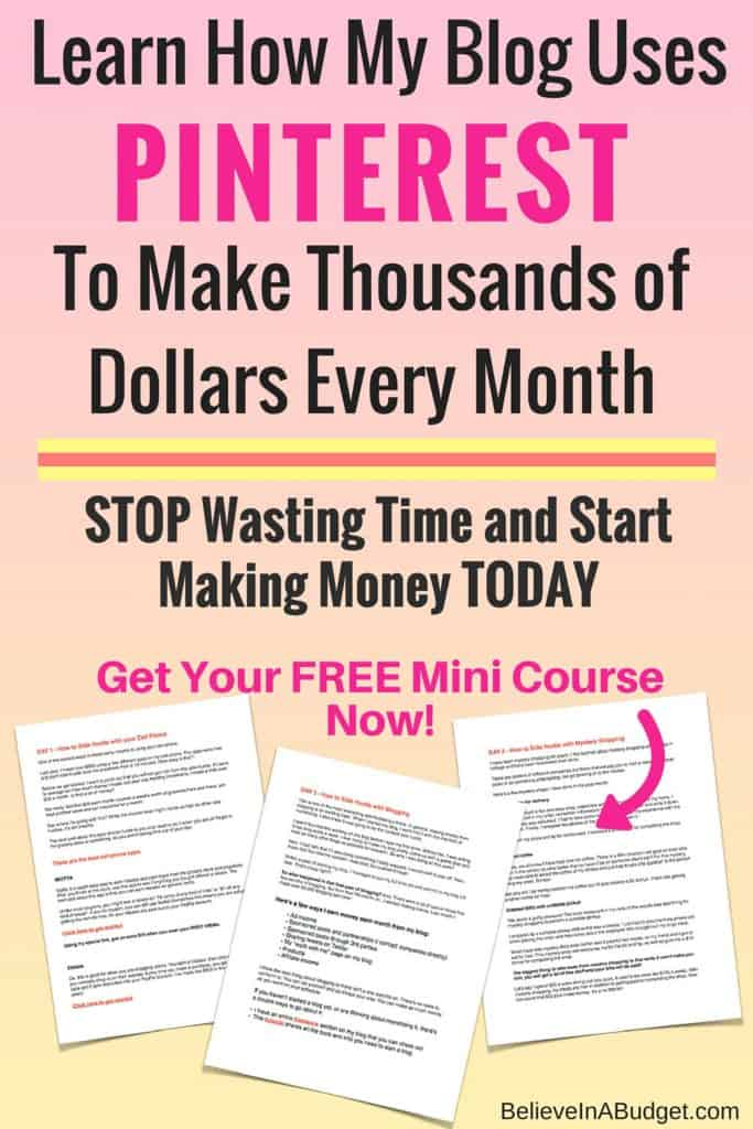 Each month my blog makes thousands of dollars, mostly due to Pinterest. Over 90% of my traffic each month comes from Pinterest, which helps me make more money! If you want to make more money, then learn how I started a blog and earn a full time living!