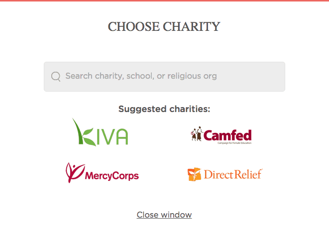 Choose charity