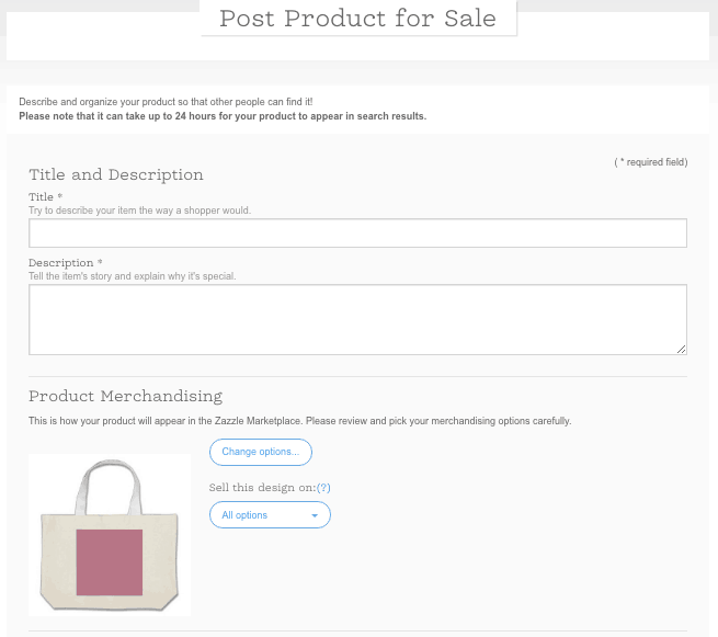 Zazzle Tote For Sale