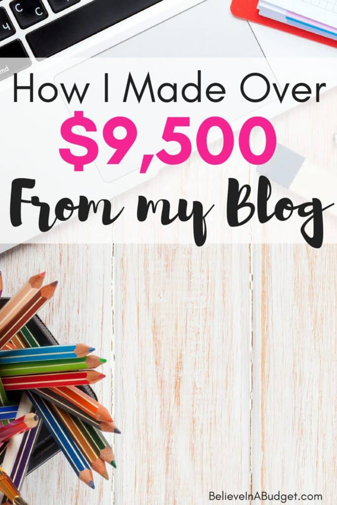 Last month I made over $9,500 blogging part time. I spent about 6-8 hours a week on my blog. Here's what I worked on to make money online and earn a full time living from my blog.