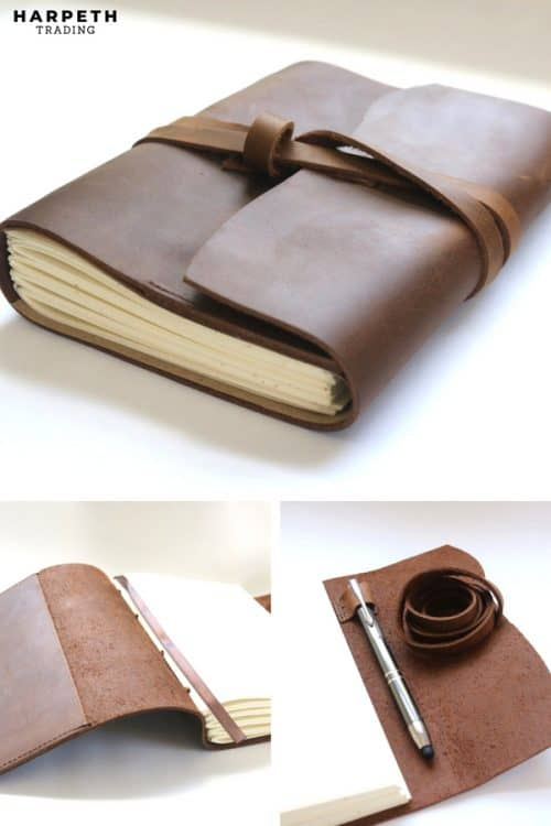 This handmade leather sketchbook is perfect for men or women, has thick off-white cream paper, and is great for making to-do lists, work meetings, taking notes, students and artists.