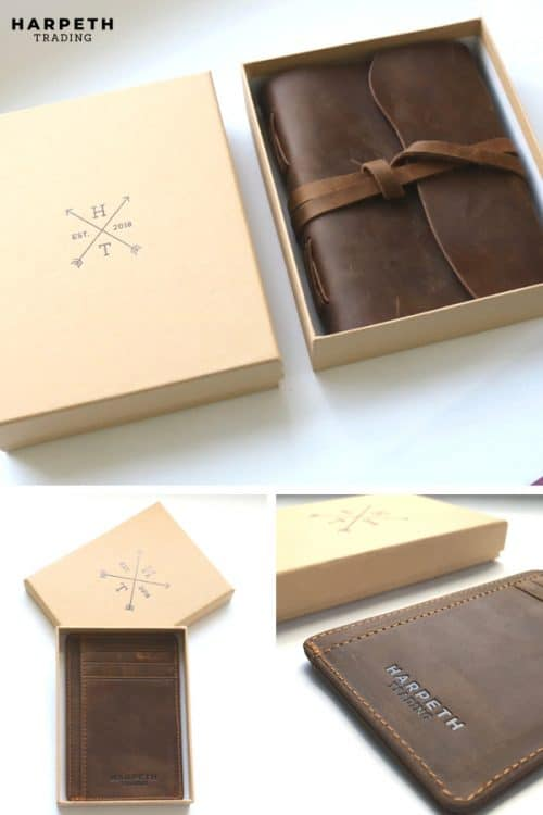 Leather sketchbook and leather wallet make the perfect gift! Made with 100% genuine leather and packaged in a beautiful gift box, these gifts are perfect for anyone for a special occasion.