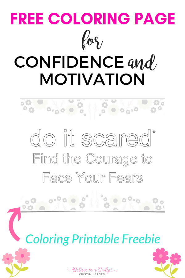 This free printable and coloring page is great for reducing anxiety, motivation and inspiring. Part of the #doitscaremovement, you can grab this freebie to print out!