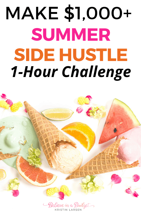 Take the summer side hustle challenge and make $1,000 or more this summer. This easy side hustle will take one hour per week and help you earn extra income!