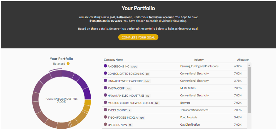 Setting up a portfolio for dividend investing with Emperor Investments